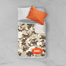 Brown Camouflage Sherpa Blanket