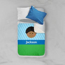Just Like Me Boy Lite Blue Sherpa Blanket