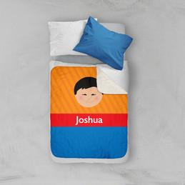 Just Like Me Boy Orange Sherpa Blanket