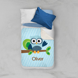 Owl be Yours Blue Sherpa Blanket
