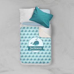 Sweet Little Blue Whale Pattern Sherpa Blanket