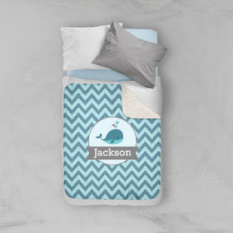 Sweet Little Blue Whale Chevron Sherpa Blanket
