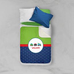 Choo Choo Train Pattern Sherpa Blanket