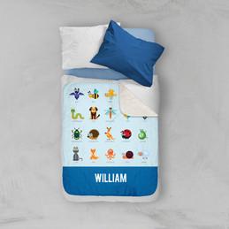 Sweet Animal Chart Blue Sherpa Blanket