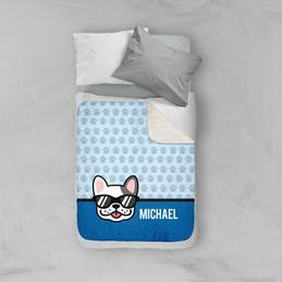 Fun & Cute Dog Blue Sherpa Blanket