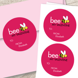 Bee My Valentine Custom Stickers