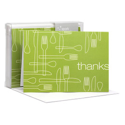 Awesome Boxed Stationery Note Cards | Delicious Thanks Green