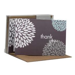 Beautiful Blank Notecard   Pom Pom Flowers Grey