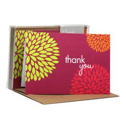 Gorgeous Boxed Note Cards   Pom Pom Flowers Fuschia