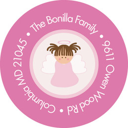 Christian Little Angel Girl Round Address Labels