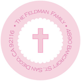 Thick Pink Cross Religious Address Labels