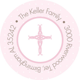 Pink Threaded Cross Round Address Labels
