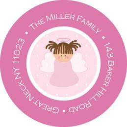 Sweet Little Pink Angel Round Return Address Labels