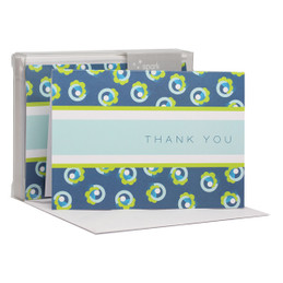 Browse Thank You Note Cards | Flowers On A Swirl Blue