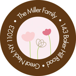 Chocolate And Pink Garden Religious Address Labels