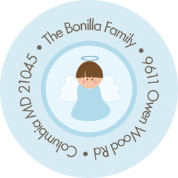 Christian Little Angel Boy Round Address Labels