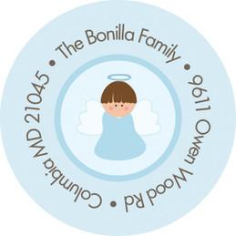 Christian Little Angel Boy Round Address Labels