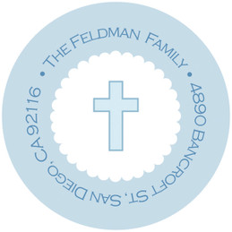 Thick Blue Cross Religious Address Labels