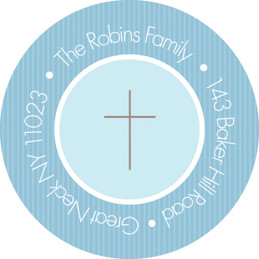 Cute Blue Stripes Christian Address Labels