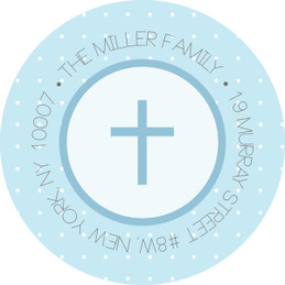 Medallions & Blue Dots Religious Address Labels