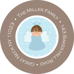 Sweet Little Blue Angel Round Return Address Labels
