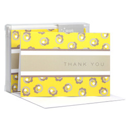 Flowers On A Swirl Yellow Notecards