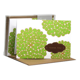 Cute Boxed Blank Note Cards | Pom Poms Green