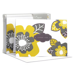 Bold Flowers Yellow Notecards