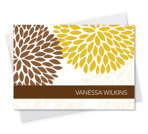 Modern Custom Folded Note Cards With Envelopes | Yellow And Bold