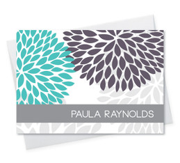 Fantastic Custom Folded Note Cards | Turquoise And Bold