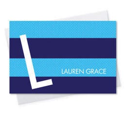 Cute Personalized Foldover Note Cards | Fun Bold Blue