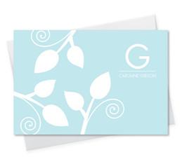 Poised Leaves - Blue Notecard