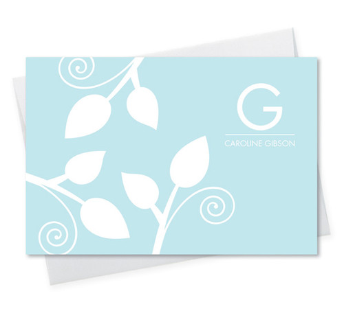 Modern Personalized Note Cards With Envelopes | Poised Leaves - Blue