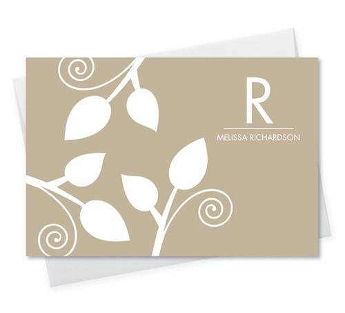 Beautiful Stationery Note Cards Personalized | Poised Leaves - Khaki