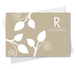 Beautiful Stationery Note Cards Personalized | Poised Leaves - Khaki