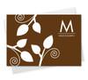 Fantastic Cool Note Card Designs | Poised Leaves - Brown