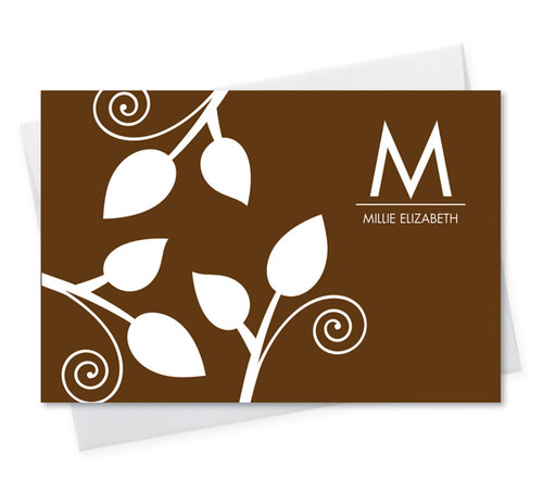 Fantastic Cool Note Card Designs | Poised Leaves - Brown