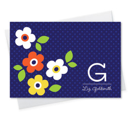 Gorgeous Custom Printed Folded Note Cards | Blue Charming Flowers