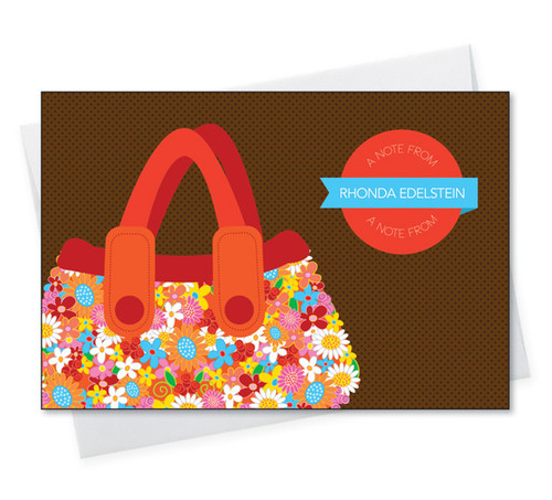 Shop Personalized Note Card Sets | Orange Flowery Purse