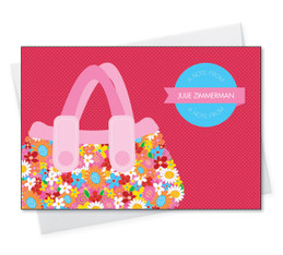 Browse Personalized Stationery Flat Note Cards | Pink Flowery Purse