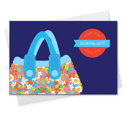Check Out Our Note Cards With Name | Blue Flowery Purse