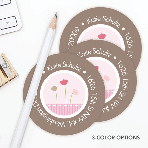 Ribbon And Flowers  Label Set