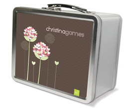 Blossoms on chocolate Metal Lunchbox
