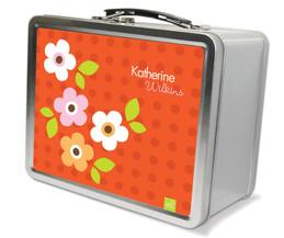 Orange Preppy Flowers  Metal Lunchbox