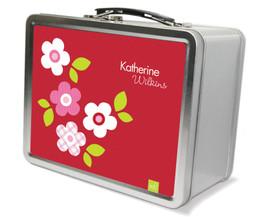 Red Preppy Flowers Metal Lunchbox