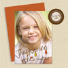 Shown with optional dark orange envelope & matching return address label