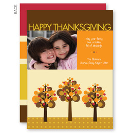Three Fall Modern Trees Thanksgiving Cards