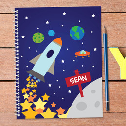 rocket launch personalized notebook for kids