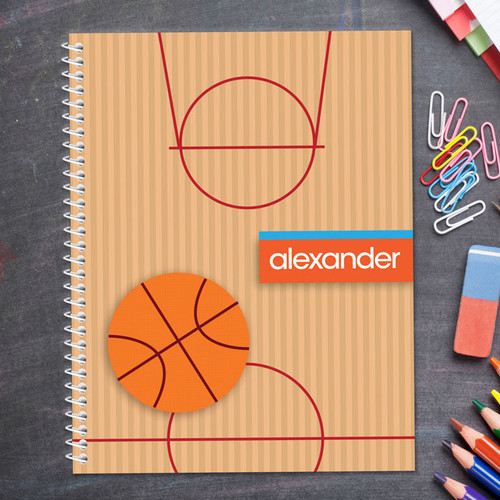 basketball court personalized notebook for kids