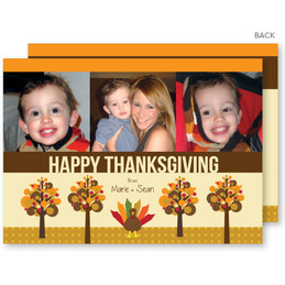 Turkey And Trees Thanksgiving Cards